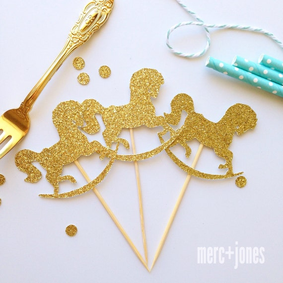 12 x Glitter Rocking Horse CupcakeToppers