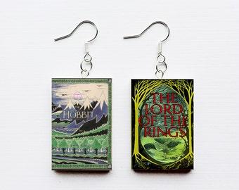 Hobbit mini book earrings