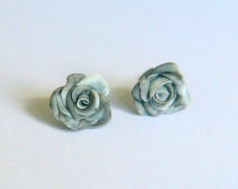 Stud earrings.  Rose marble earrings, Marble effect, Clay, cold porcelain, roses, gift for bridesmaids, wedding favors