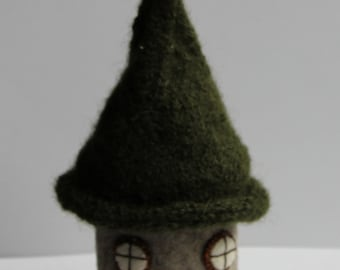 green and gold fairy house, gnome home