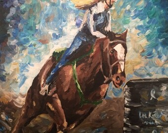 Barrel Racing Horse art print from original horse on canvas painting.