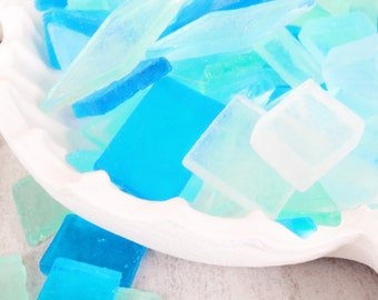 One Pound of Blue Sea Glass Soap - Beach Glass Soap - Nautical Soap - Beach Theme Soap - Guest Soap - Beach Decor Soap - Sea Glass Soap