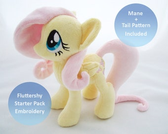 PlanetPlush Fluttershy Starter Pack - Embroidery + Mane and Tail Pattern