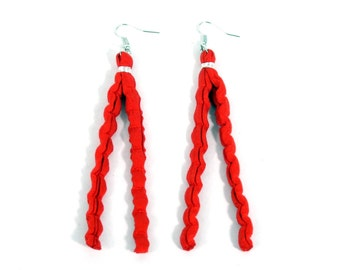 Earrings of recycled rag rugs, red