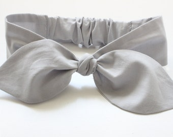 Baby / newborn headband - super soft fabric - solid light grey