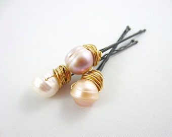 Fresh Water Pearl Hair Pins - Pearl Hair Pins - Pearl Bobby Pins - Fresh Water Pearls - Pearl Wedding Pins - Fresh Water Pins - Hair Pins