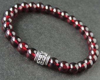 Men's Women Garnet 925 Sterling Silver Bracelet AAA Gemstone OM Bead DiyNotion Handmade BR671