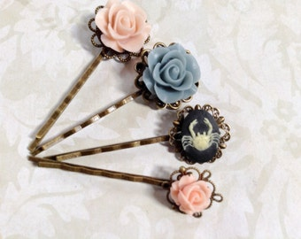 NEW! Set of 4, Off White And Black Crab And Pink Flower Hair Clip