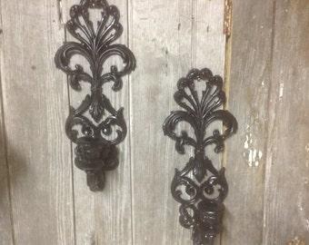 116 -Vintage  -Wall  Sconces -Burwood- Set of 2 - Ornate- Chic -Black -Distressed