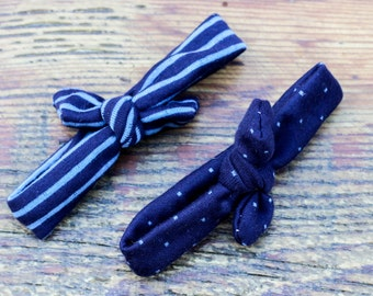 Adjustable Baby Headband Set (Blue Striped and Polka Dot Stretchy)