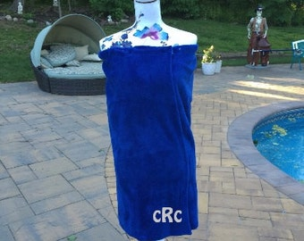 Monogrammed Plush Bath Towel Wrap - Personalized - NAVY BLUE - Wedding Bride Pool Spa Robe - Women OSFM