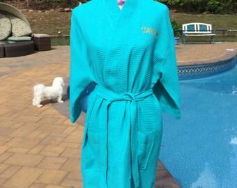 Monogrammed Waffle Kimono Short Robe Square Pattern - Personalized -  AQUA - Wedding Bride Pool Spa Robe