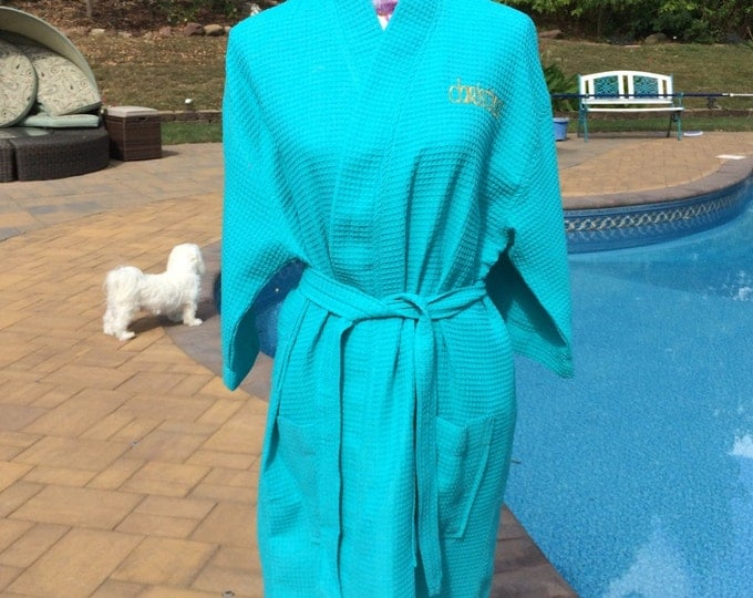 Monogrammed Waffle Kimono Short Robe Square Pattern - Personalized -  AQUA - Wedding Bride Pool Spa Robe