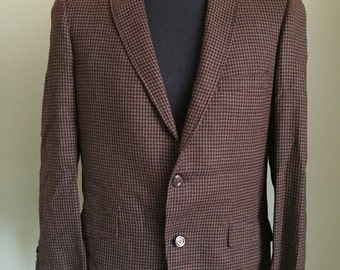 Vintage Towncraft Checkered Suit Jacket - Size 46 - Brown & Black