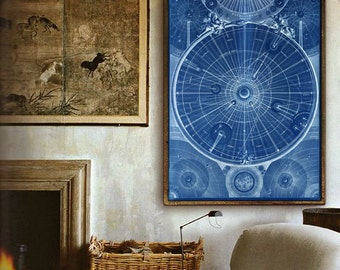 "Solar System map 1742 Old astronomical chart, 4 sizes up to 36x54"" (90x140cm) XL vintage sky map, also in blue - Limited Edition of 100"