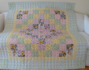 Angel Quilt, Handmade Quilt, Patchwork Quilt, Homemade Lap Quilt,Throw  56 x 65 inches Free Shipping Canada and USA