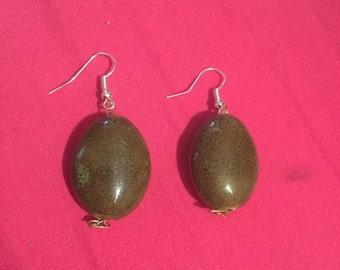 Green Ceramic Bead Dangle Earrings
