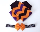 DEAL of the week!! 2 PC set Halloween Leg Warmers and Headband - Toddler Baby Leg Warmers Orange Black Purple Chevron