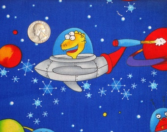 Space Cases Robert Kaufman Patrick Lose Aliens Outer Space ships Cotton fabric by the yard BTY