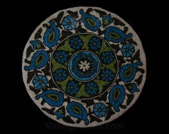 "Beaded Round Panel - Turquoise Blue Olive Green Ecru Daisies & Paisleys - Hand Beading - 14.5"" Circle - Daisy Flowers - Textile Art - 45346"