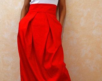 Wrap skirt / Women Skirts / Long Skirt / High Waisted Skirt / Red Skirt / Maxi Skirt / Cotton Skirt / by CARAMELfs S4015