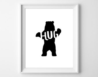 Bear Hug Print, Animal Nursery Art, Bear Print, Bear Wall Art, Baby Gift, Minimal Nursery, Minimal Decor, Bear Silhouette, Instant Download