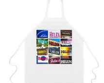 Custom Apron featuring the name HELEN in photos of actual signs; Personalised aprons; Cooking aprons; Kitchen aprons; Chef aprons