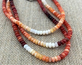 Ombre Mexican Fire Opals- October Birthstone - Stunning Genuine Natural Rondelles with a Fancy 925 Sterling Silver Clasp Statement Necklace