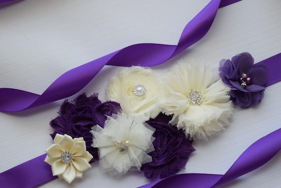 Sash, Grape Purple and ivory Sash , flower Belt, maternity sash