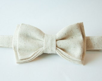 Warm Oatmeal Bow Tie – You Choose Size