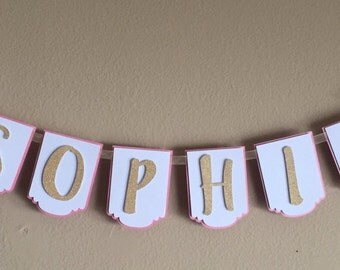 Name Banner -  pink, white & gold