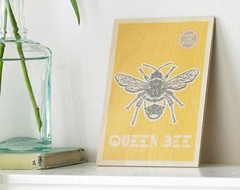 Queen Bee Wooden Postcard