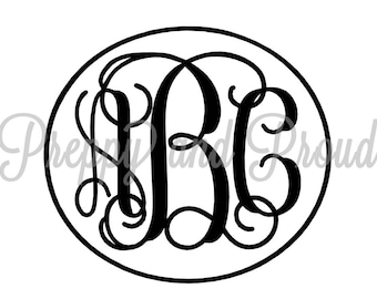 Vine Monogram Decal - Laptop Decal, Monogrammed Sticker - Yeti Decal - Car Decal - Monogram Sticker - Phone Decal - Swell Decal -