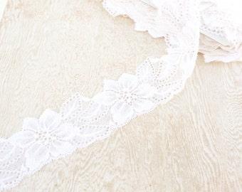 White Floral Elastic Lace Trim 3 Yards