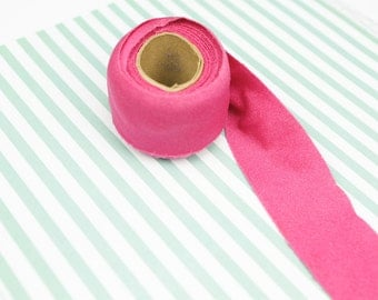 Hot Pink Knit Bias Tape Shiny Polyester Fabric 1.75 inches wide x 3.5 yards  BST00018