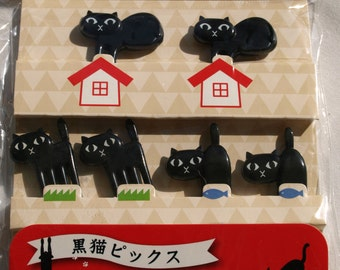 Black Cat Picks ( fork type tips ) / Cooking for Lunch Box ( Bento Box ) and or Cupcake Toppers!