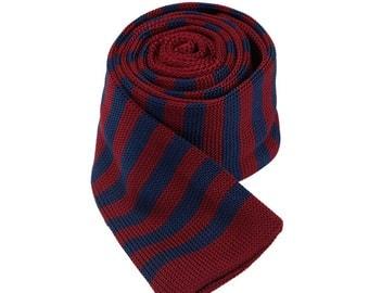Striped Knit Tie.Mens Knitted Necktie.SKinny Tie,Wedding Tie