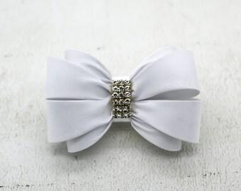 White Bow Hair Clip, Girls Hair Clip, Bow Hair Clip, Wedding Hair Clip, Toddler Hair Clip, Rhinestone Hair Clip, Flower Girl Clip, 1367