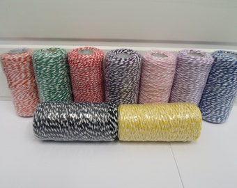 2 metres or Full Roll 100 metres Bakers Twine Cord Rope String Tread white and colour stripe Butchers