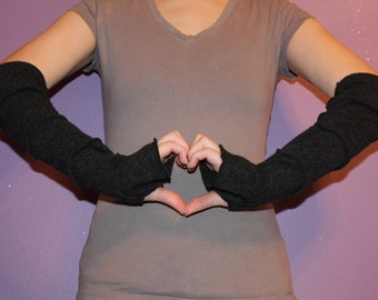 Arm Warmers - Wrist Warmers - Fingerless Gloves - Cashmere - Black - Upcycled