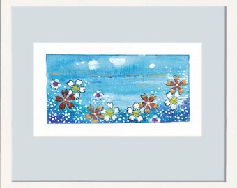 Miniature painting, original painting, small painting, small drawing, tiny art, tiny treasure, signed original, blossoms, sky, free shipping