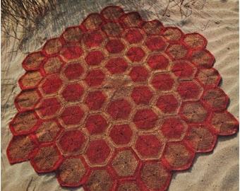 Crochet Rug Pattern Vintage 70s Crochet Motif Hexagonal Rug Mat Scatter  Area Rug Crochet Floor