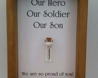 Soldier, Son, Hero. Soldier gift, Passing out.  Can be personalised with names or your own message.