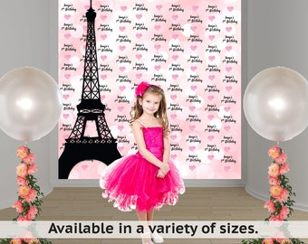 Paris Photo Backdrop - Step and Repeat Eiffel Tower Backdrop - Birthday Photo Backdrop - Paris Backdrop - Custom Backdrop