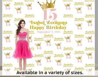 Birthday Princess Step and Repeat Personalized Photo Backdrop -Sweet 15 Photo Backdrop- 21st Birthday Photo Backdrop - Custom Backdrop
