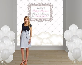 Thank Heaven Personalized Photo Backdrop - Baby Shower Photo Backdrop- Large Photo Backdrop, Baby Shower Photo Backdrop, Clouds Backdrop