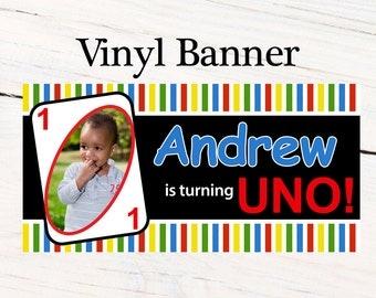 Birthday UNO Banner  ~ Personalized First Birthday Party Banners - Photo Banner, Printed Vinyl Banner, Kids Birthday Banner
