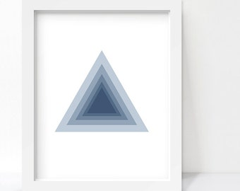 Geometric Art, Triangle Print, Concentric Triangle Wall Art, Navy Blue Decor, Navy Decor, Abstract Print, Printable Art, Digital Download