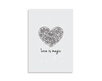 Wall art print, Love is magic, Inspirational Print, Love art, Scandinavian design, Minimalist art, Nordic art