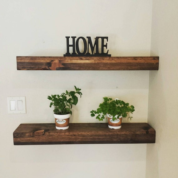 Floating Shelves rustic reclaimed wood dark walnut floating shelf/ wall shelf